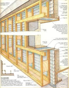 """This illustration of Larsen trusses appeared in John Hughes article, """"Retrofit Superinsulation,"""" published in the April/May 1984 issue of Fine Homebuilding. Framing Construction, House Cladding, Music Studio Room, Solar House, Earth Homes, Natural Building, Earthship, House In The Woods, Architecture Details"""