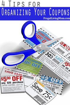 Tips for Organizing Your Coupons- Coupons are easy to use. I suspect it is the clipping and organizing that frustrate and discourage many people from taking advantage of them. Here's a few tips: