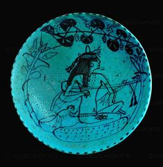 Musician. Blue faience glaze bowl (about 1300 BCE), 19th Dynasty, New Kingdom, Egypt.