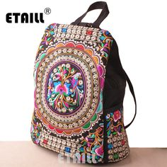 National Embroidery Luxury Brand Logo Backpack Ethnic Cotton Boho Indian Embroidered Floral Travel Rucksack Bag Sac a Dos Femme