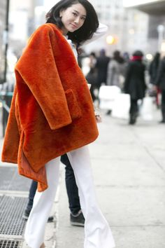 She gave white a Winter makeover with a high-impact fur - Street Style at New York Fashion Week #NYFW