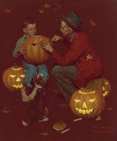 Norman Rockwell (American painter and illustrator) 1894 - 1974 Old Man and Boy: Halloween, ca. 1952 oil on canvas Norman Rockwell Art, Norman Rockwell Paintings, Vintage Holiday, Vintage Halloween, Snoopy Halloween, Halloween Artwork, Halloween Magic, Halloween Pictures, Halloween 2019