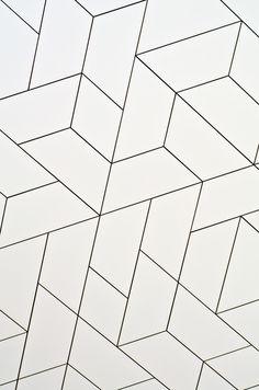 Geometric white tile pattern (grey grout) using diamond / rhombus and trapezoid . Geometric white tile pattern (grey grout) using diamond / rhombus and trapezoid / trapezium shapes Geometric Patterns, Geometric Tiles, Floor Patterns, Tile Patterns, Textures Patterns, Geometric Shapes, Print Patterns, Graphic Patterns, Rhombus Tile