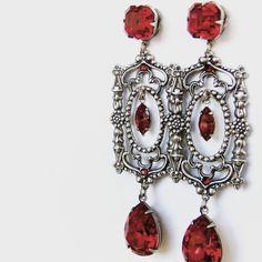 Long Red Earrings Swarovski Crystal