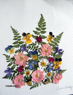 cuadro flores prensadas tableau fleurs séchées                                                                                                                                                                                 Más
