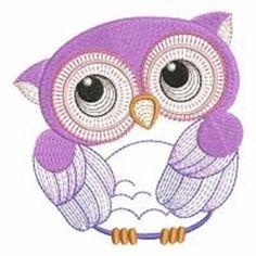 2 pretty purple owls embroidered fabric quilt blocks squares RQQ™