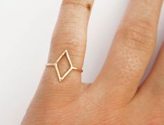 Gold Diamond Shape Ring, Thin Gold Ring, Simple Ring, Geometric Shape, Pinky Ring, Midi, Knuckle Ring.