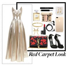 A fashion look from February 2017 featuring floor length dresses, high heeled footwear and leather man bags. Browse and shop related looks. Red Carpet Looks, Nars Cosmetics, Yves Saint Laurent, Chanel, Shoe Bag, Metal, Cartier, Plugs, Polyvore