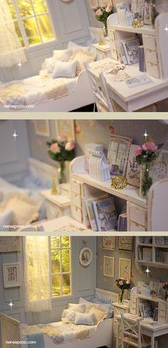 Nerea Pozo Art: ♥ Handmade miniature diorama CLOUDY MORNING BEDROOM ♥