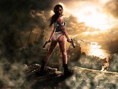 #девушка, #пистолет, #Камни, #кровь, #облаках, #лучами, #Бинты, #Лодки, #Лара Крофт, #Tomb Raider