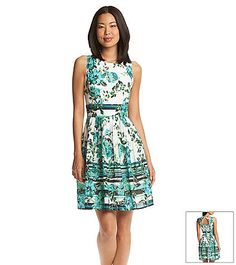 Adrianna papell floral tea length dress at for Elder beerman wedding dresses