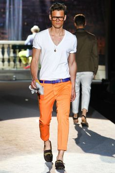 I love the style of dsquared2. The orange pants with the purple belt paired with the shoes are amazing.
