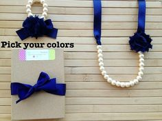Custom shabby chic jewelry set - navy blue - pick your colors - by MissSweetPeaBoutique, $21.00