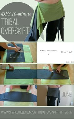 DIY tribal overskirt hip skirt