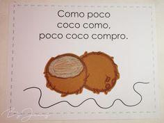 """Hoja de Trabalenguas: """"Como poco coco"""" con Ilustración. Más fotografías dando clic a la imagen. Coco, The Beatles, Leaves, Beatles"""