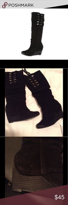 NWOT Naughty Monkey After Summer Boot Black suede with wedge heel. Lace up accent at top, rubber heel and sole. Size 7 naughty monkey Shoes Heeled Boots
