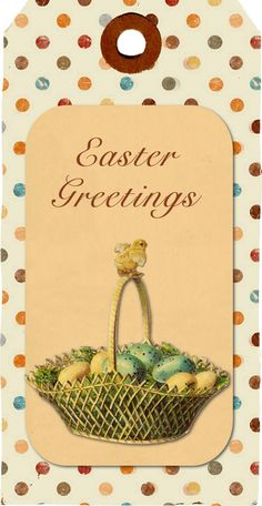 NOTE:  to make my Easter card:  find a polka dot scrapbook paper for the background + vintage graphics