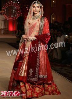 Zikimo Bajirao Mastani Deepika Padukone Indian Bridal Wear Red Lehenga with Sharara Pants