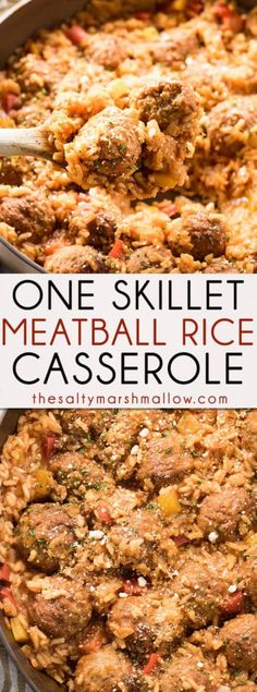 One Skillet Italian Meatballs and Rice is an easy one pan casserole packed full of flavor! Italian meatballs come together with rice, garlic, onions, peppers, in a flavorful tomato sauce for an easy weeknight dinner the whole family will love. Healthy Casserole Recipes, Beef Recipes, Cooking Recipes, Healthy Recipes, Meatball Recipes, Kid Recipes, Skillet Recipes, Skillet Meals, Healthy Lunches