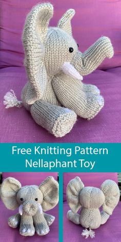 Free Knitting Pattern for Nellaphant Elephant Toy - Elephant toy softie knit flat on two needles. Designed by L.Marshall and Rachel Clarke. patterns free toys Free Knitting Pattern for Nellaphant Elephant Toy Animal Knitting Patterns, Crochet Patterns, Crochet Ideas, Knitting Patterns For Babies, Knitting Dolls Free Patterns, Easy Knitting Projects, Knitting Ideas, Knitting Designs, Dk Weight Yarn