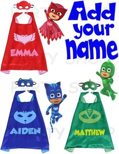 Pj Masks custom cape and mask for kids Catboy Owlette or Third Birthday, 3rd Birthday Parties, Boy Birthday, Birthday Ideas, Mickey Birthday, Frozen Birthday, Pj Masks Birthday Shirt, Birthday Shirts, Pjmask Party