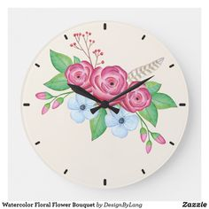 Shop Watercolor Floral Flower Bouquet Large Clock created by DesignByLang. Large Clock, Floral Flowers, Floral Watercolor, Floral Design, Decorative Plates, Bouquet, Display, Create, Artwork