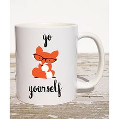 The Love Mugs 'Go Fox Yourself' Mug ($9.99) ❤ liked on Polyvore featuring home, kitchen & dining, drinkware, fox mug, wizard of oz mug, ceramic mugs, wizard of oz coffee mug and ceramic coffee mugs