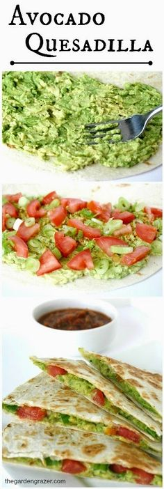 Avocado Quesadillas -- a low-carb, high fiber snack. Creamy avocado tastes loooovely! http://www.thegardengrazer.com/2014/05/avocado-quesadillas-vegan.html