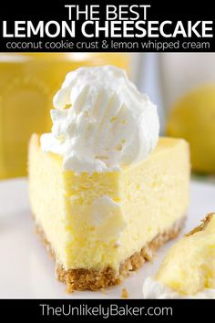 This is the best lemon cheesecake recipe ever. Light and fluffy. Easy to bake - you don't even need to do a bain-marie or water bath! The perfect special occasion cake. cheesecake recipe The Best Lemon Cheesecake. Brownie Desserts, Oreo Dessert, Bon Dessert, No Bake Desserts, Easy Desserts, Delicious Desserts, Dessert Healthy, Dessert Ideas, Best Lemon Cheesecake Recipe