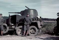 Porlammen motista sotasaaliiksi saatu BA-10 panssariauto. Porlammi, Sommee 1941.09.05