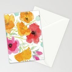 Armful of Poppies Stationery Cards by Edith Jackson-Designs | Society6