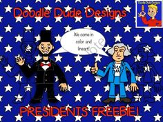 Presidents FREEBIE Doodle Dude Designs from Doodle Dude Designs on TeachersNotebook.com -  (4 pages)  - This package contains transparent color AND linear images of good ole Abe Lincoln and George Washington for use in your personal or commercial products! I am the son of a teacher and my mom is managing my TpT store. By purchasing my clipart, you are helpi