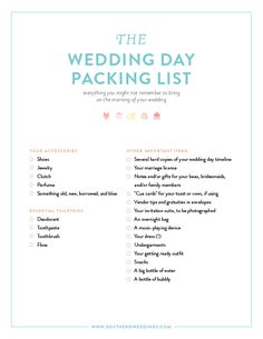 downloadable wedding day packing list - 22 things you might not remember to bring on the morning of your wedding!