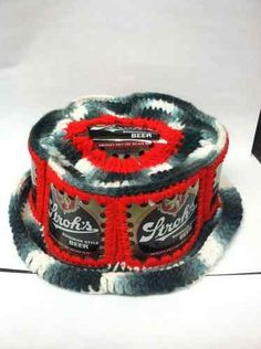 Vintage Beer Can Hat Knitted Crochet Strohs Man Cave Retro One Size | eBay