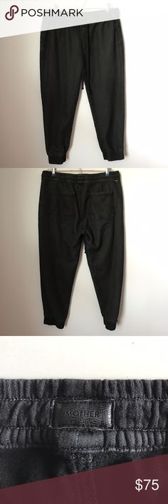 """Mother Drawstring Cropped Trainers. MOTHER brand cropped drawstring trainers in heathered black. From Anthropologie. Gently used condition. size 28. Waist measures 15.5"""" flat across. Inseam 23"""". Sorry, no trades & I am unable to model. Anthropologie Pants Ankle & Cropped"""