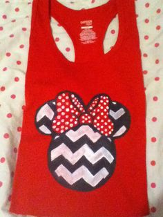 Minnie Mouse chevron DIY tshirt I made with fabric paint and a stencil