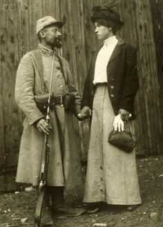 World War I. French soldier and his girlfriend