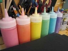 Mix 1 cup of salt, 1 cup of flour, 1 cup of water and food coloring in a condiment bottle to create cheap and easy paint.