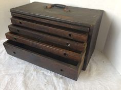 Vintage handmade WOOD Wooden Machinist jewelers Tool Chest Box Craft 4 Drawer