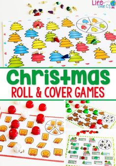 These Christmas roll & cover games are just one part of the huge Christmas Pre-K Math and Literacy Bundle! Practice counting to 5, 10, matching shapes and colors. Plus, lots of ten-frame, counting, sorting activities and MUCH more! Perfect for Christmas theme centers for preschool. Try these fun kids activities for Christmas today! #christmas #kids #kidsactivities #math #preschool