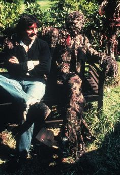Tom Savini on the set of Creepshow with nathan Grantham zombie .