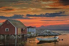 Red Sunset at Peggy's Cove Harbor with Boat in a Fishing Village near Halifax in Nova Scotia Canada - A Nautical Seascape Boat Photograph Red Sunset, Sunset Art, Fishing Boats, Ice Fishing, Fishing Games, Fishing Reels, Fishing Rod, Fishing Vest, Saltwater Fishing