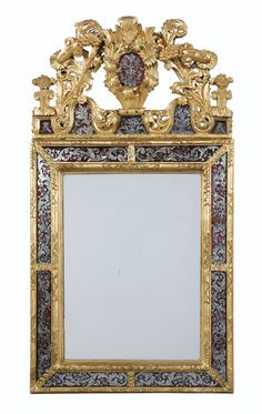 Giltwood and eglomised glass mirror, Régence, circa 1720 (Sotheby's)