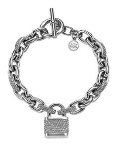 Michael Kors Pave Padlock Bracelet, Silver Color.