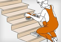 Heimwerker beim Grundierungsschliff der Holztreppe mit einem Exzenterschleifer.