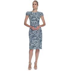 Carolina Herrera Lovers Lace Print Stretch Cotton Dress ($1,990) ❤ liked on Polyvore featuring dresses, white boatneck dress, cap sleeve sheath dress, carolina herrera, bateau neck dress and carolina herrera dresses