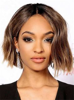 Medium Fashion Glossy Straight African American Synthetic Lace Front Women Wig 10 Inches