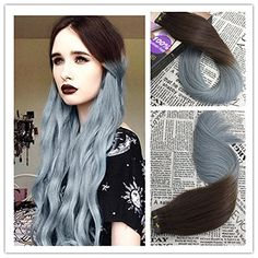Moresoo 20 Inch 20pcs/50g Two-tone Multi-color Hair Dark Brown to Silver Gray 100% Remy Human Hair Seamless Tape In Hair Extensions