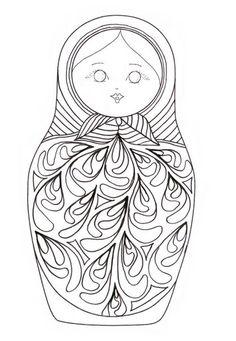 Раскраска для малышей матрешка 39
