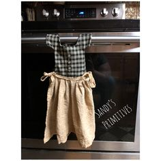 DIY primitive kitchen towel for stove made from homespun